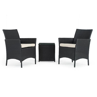 Sego Lily Silva 3-Piece Metal Frame Patio Conversation Set with Cushions