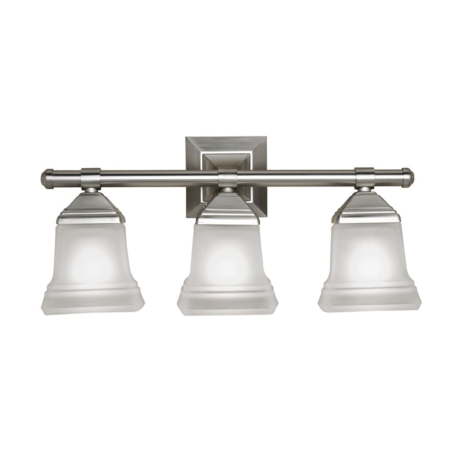 Shop Portfolio 3 Light Brush Nickel Vanity with Frost Glass at Lowes.com