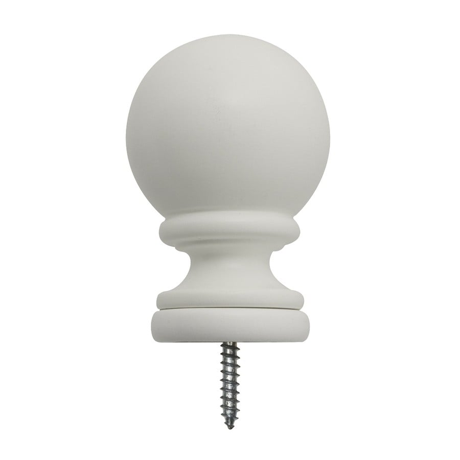 Shop Allen Roth 2 Pack White Wood Curtain Rod Finials At