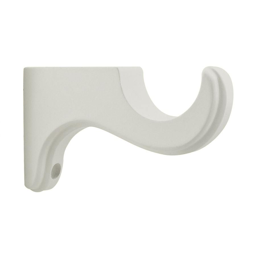 shop allen + roth 2-pack white wood single curtain rod bracket at