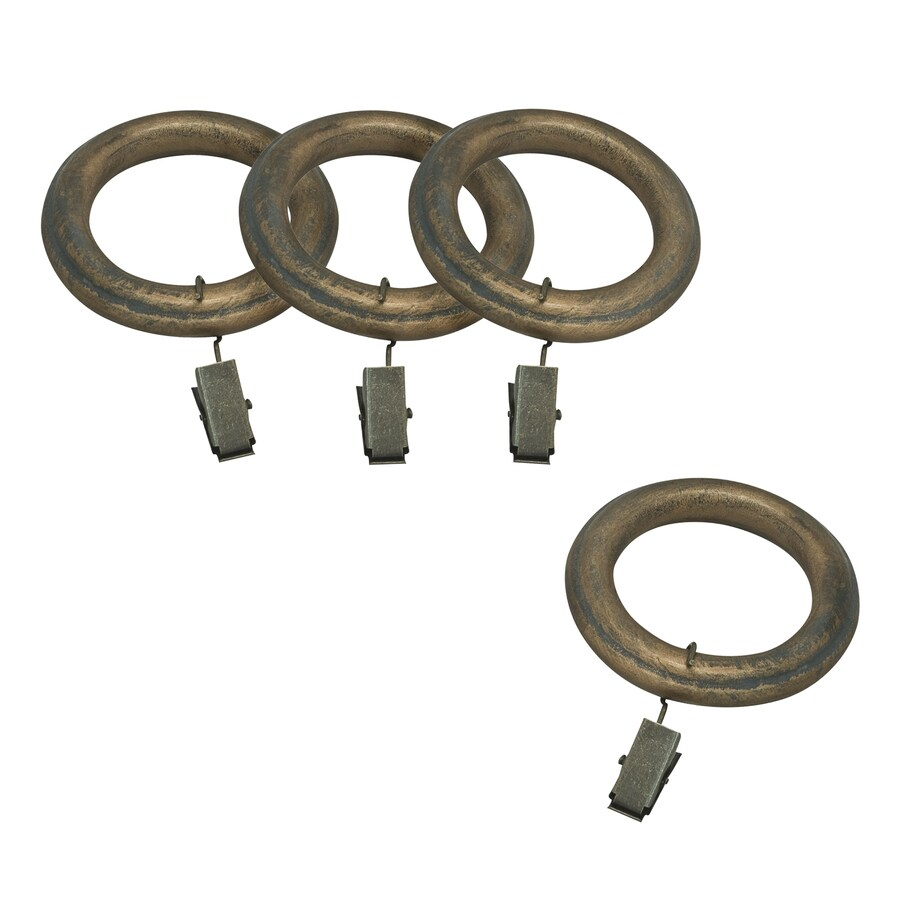 allen + roth 7-Pack Specialty-Brass Wood Curtain Rings