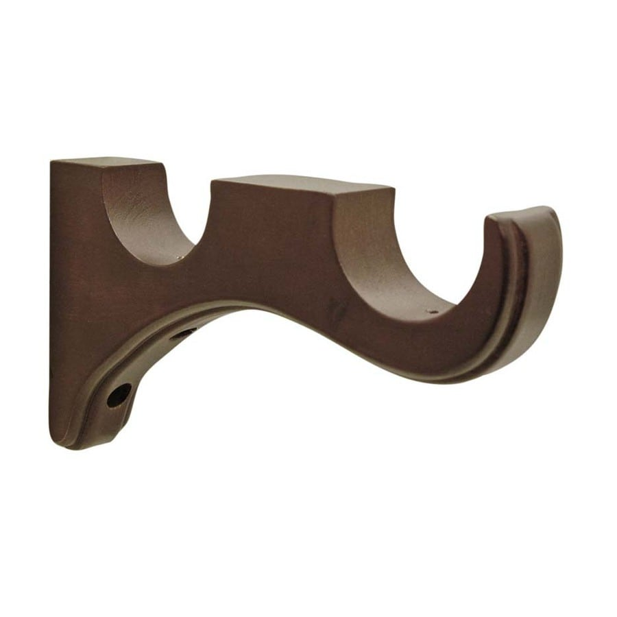 Shop allen   roth 2-Pack Mahogany Wood Double Curtain Rod Bracket at ... for Double Curtain Rod Wood  177nar