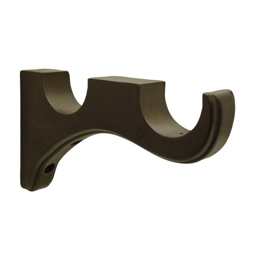 shop allen + roth 2-pack mink wood double curtain rod bracket at