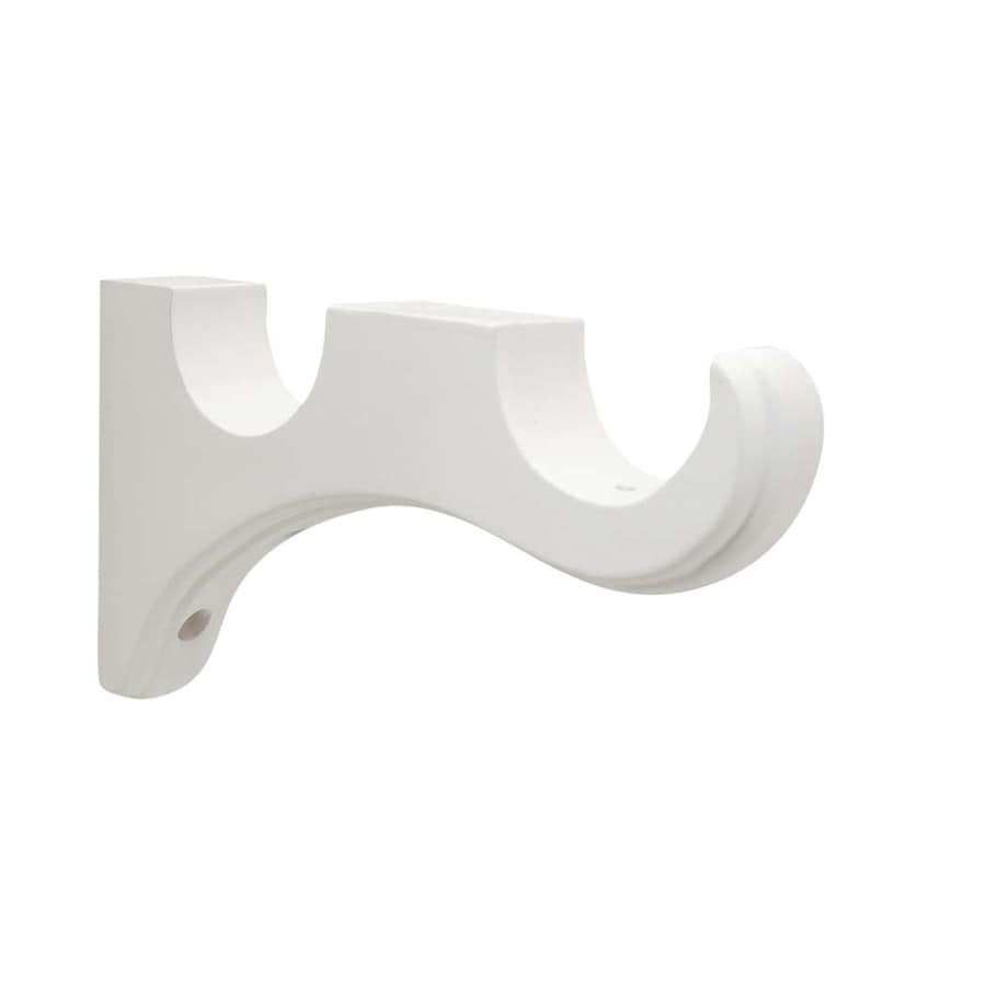 shop allen + roth 2-pack white wood double curtain rod bracket at