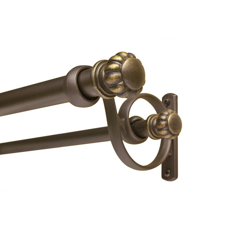 allen + roth 36-in to 72-in Dark-Brass Double Curtain Rod