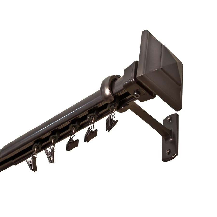 72 in to 144 in specialty bronze traverse curtain rod at