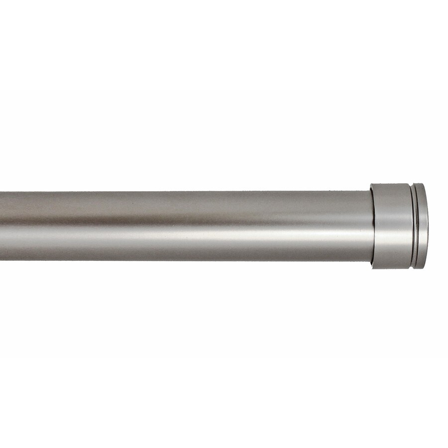 allen + roth 72-in to 144-in Pewter Metal Single Curtain Rod