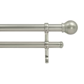 Style Selections Allen + Roth 48-in to 84-in Nickel Steel Double Curtain Rod