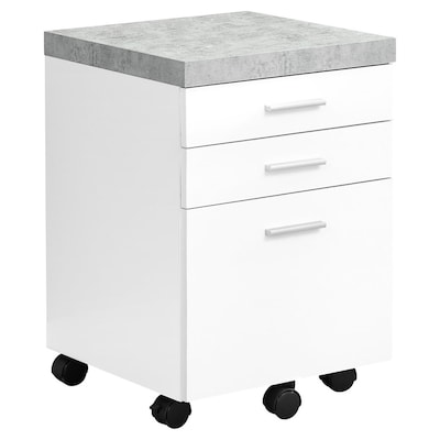 Monarch Specialties White Grey Cement Look 3 Drawer File Cabinet