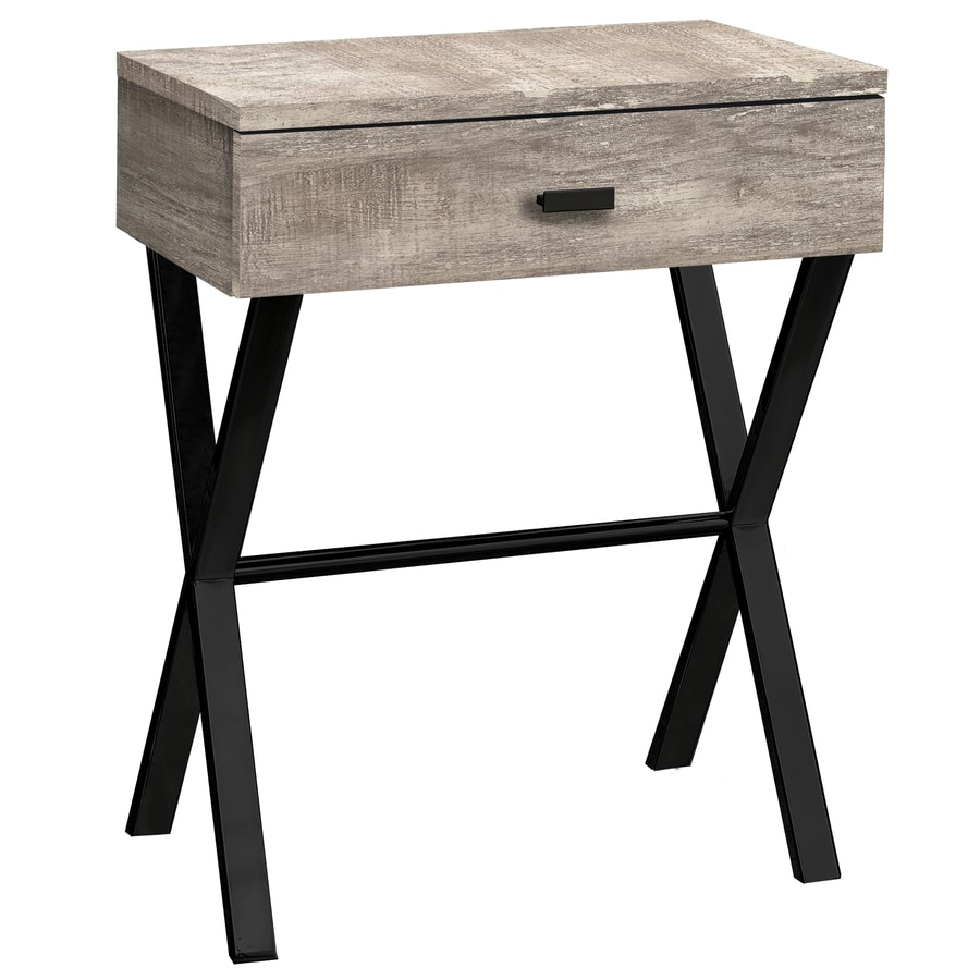Monarch Specialties Modern Accent Night Stand with Drawer Open Box Dark Taupe