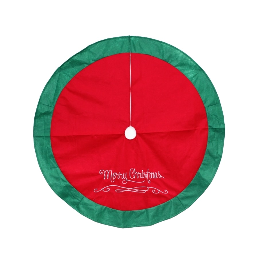 Holiday Living 48-in Red Polyester Merry Christmas Tree Skirt