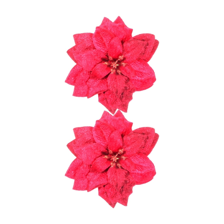 Holiday Living Red Poinsettia Flower Bow Clip Lights