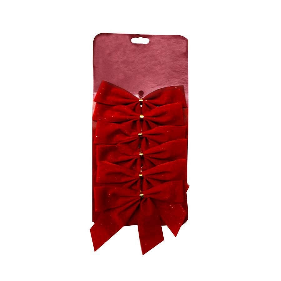 Holiday Living 6-Pack 0.5-in W Red Solid Bows
