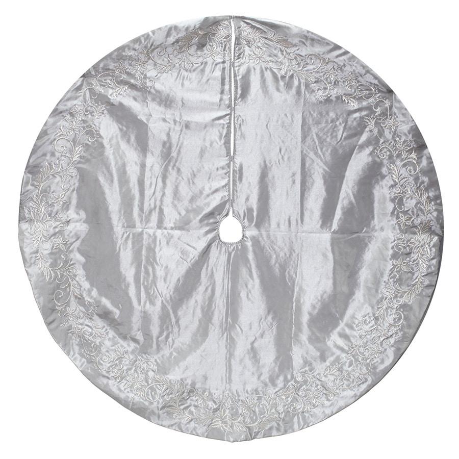 holiday living 56 in silver polyester traditional christmas tree skirt