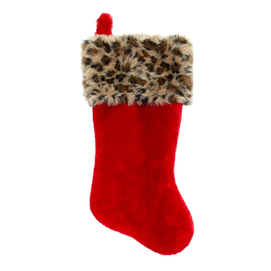 Holiday Living 19-in Red Leopard Christmas Stocking
