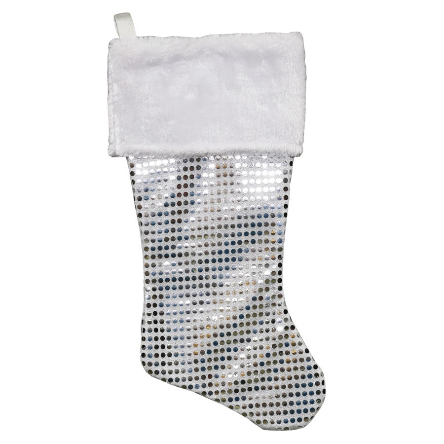 Holiday Living 19-in Silver Glitter Christmas Stocking