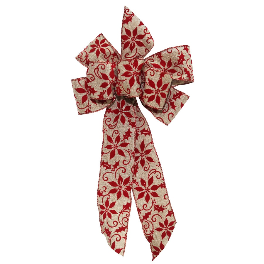 Holiday Living 17-in H x 8-in W Red Solid Bow