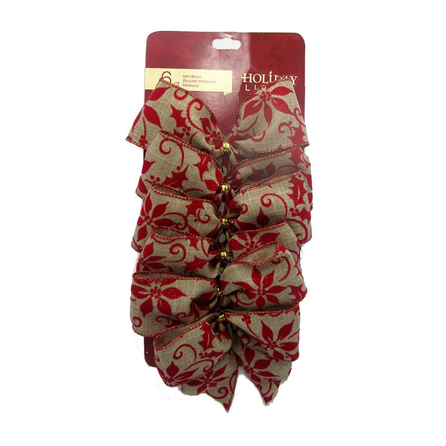 Holiday Living 6-Pack 5-in W Red Solid Bows