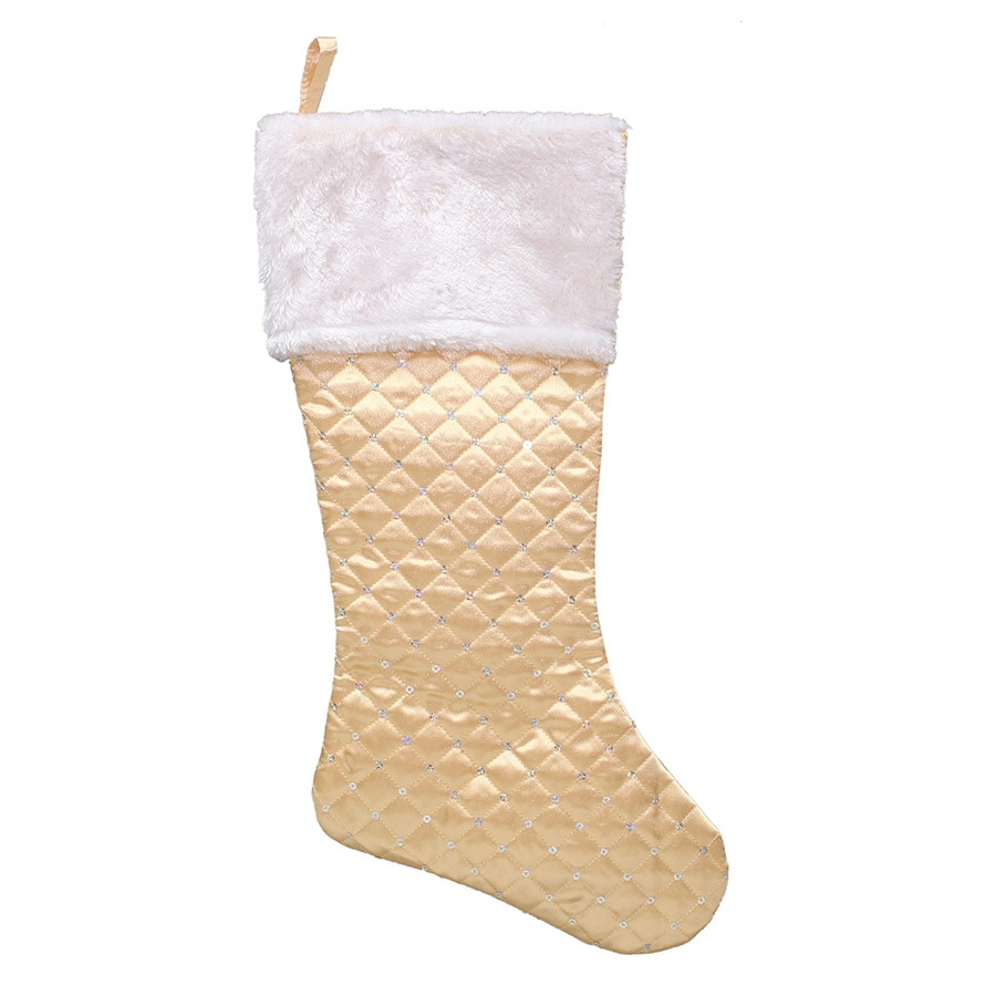 holiday living 21 in gold polyester quilted christmas stocking - Gold Christmas Stocking