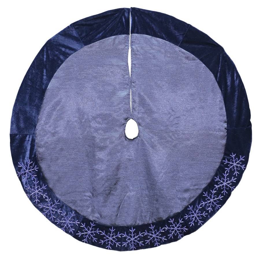Holiday Living 48 In Blue Polyester Snowflake Christmas Tree Skirt