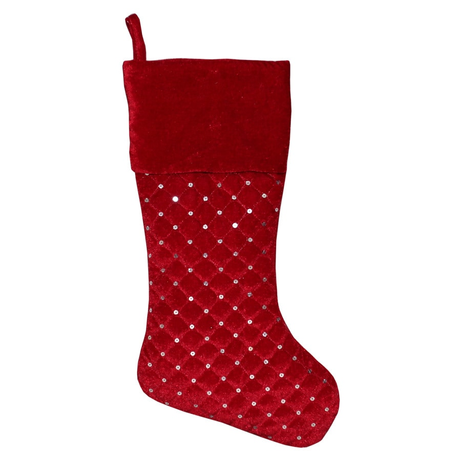 Holiday Living 20-in Red Quilted Christmas Stocking