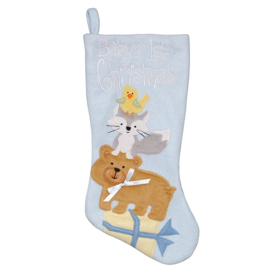 Holiday Living 16-in Pink Baby's First Christmas Stocking