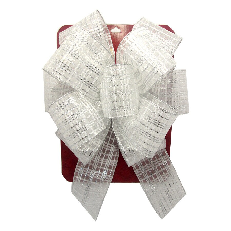 Holiday Living 19-in H x 13-in W White Striped Bow