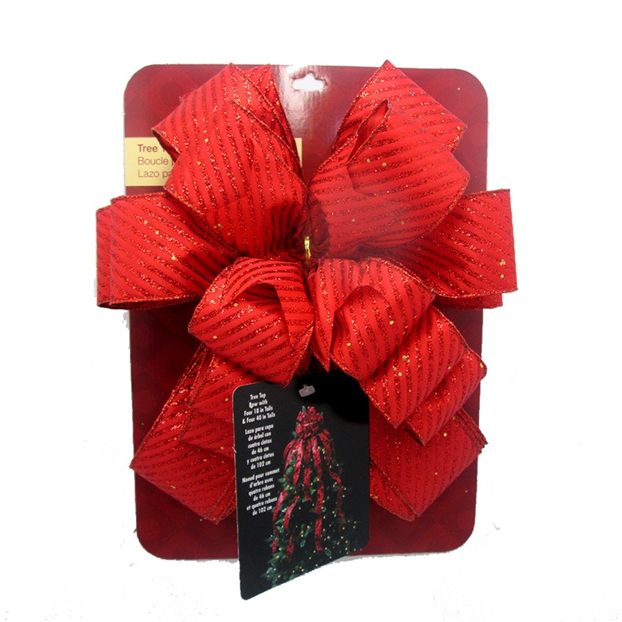 Holiday Living 53-in Red Glitter Polyester Ribbon Christmas Tree Topper