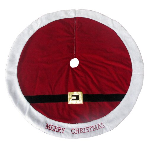 Lowes Christmas Tree Skirts: Holiday Living 48-in Red Polyester Santa Christmas Tree