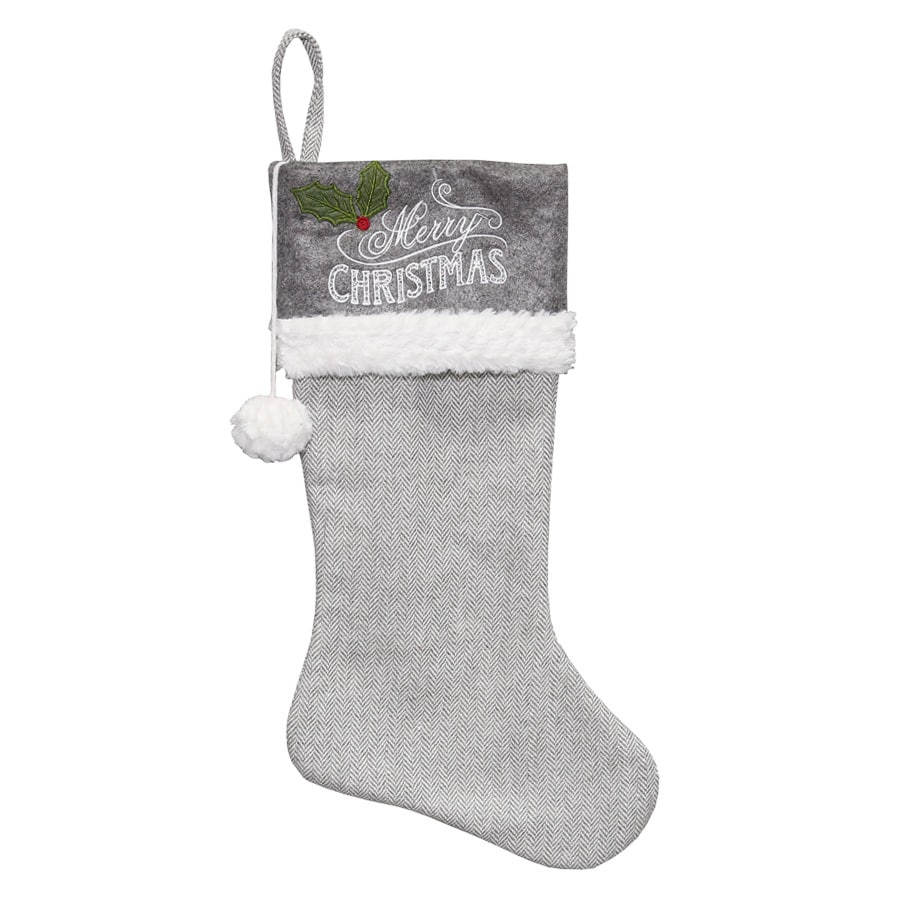 Holiday Living 21-in Gray Traditional Christmas Stocking