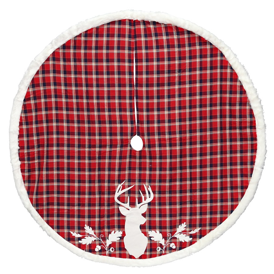 Holiday Living 56-in Red Polyester Deer Christmas Tree Skirt