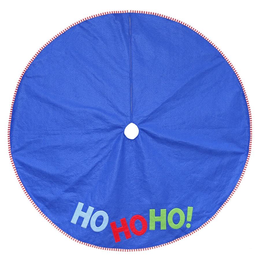 Holiday Living 48-in Blue Polyester Santa Christmas Tree Skirt