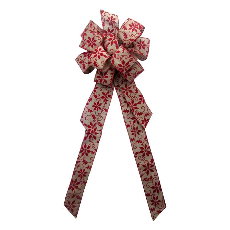 Holiday Living 17-in H x 8-in W Red Scroll Bow