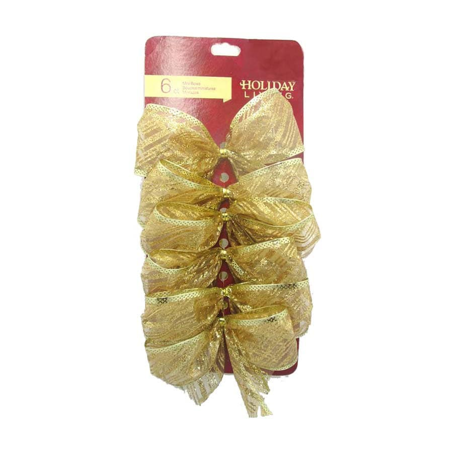 Holiday Living 6-Pack 5-in H x 5-in W Gold Solid Bow