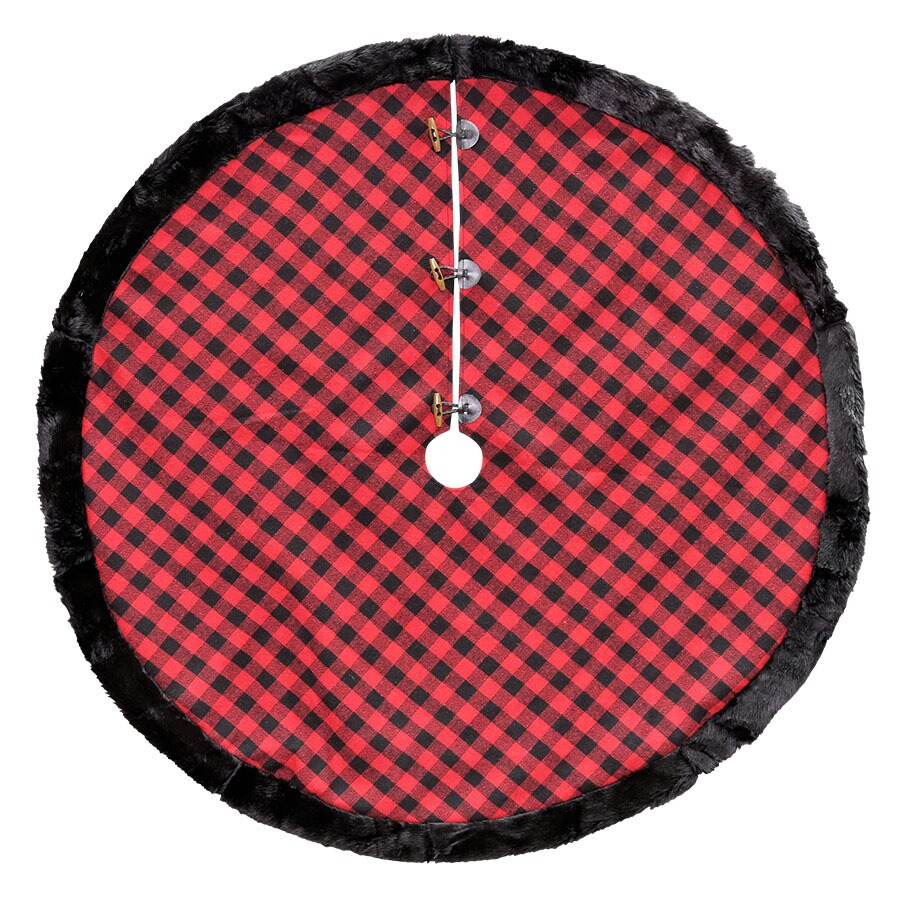 Lowes Christmas Tree Skirts: Holiday Living 56-in Polyester Plaid Christmas Tree Skirt