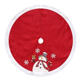 holiday living 48 in red polyester snowman christmas tree skirt - Christmas Tree Skirts