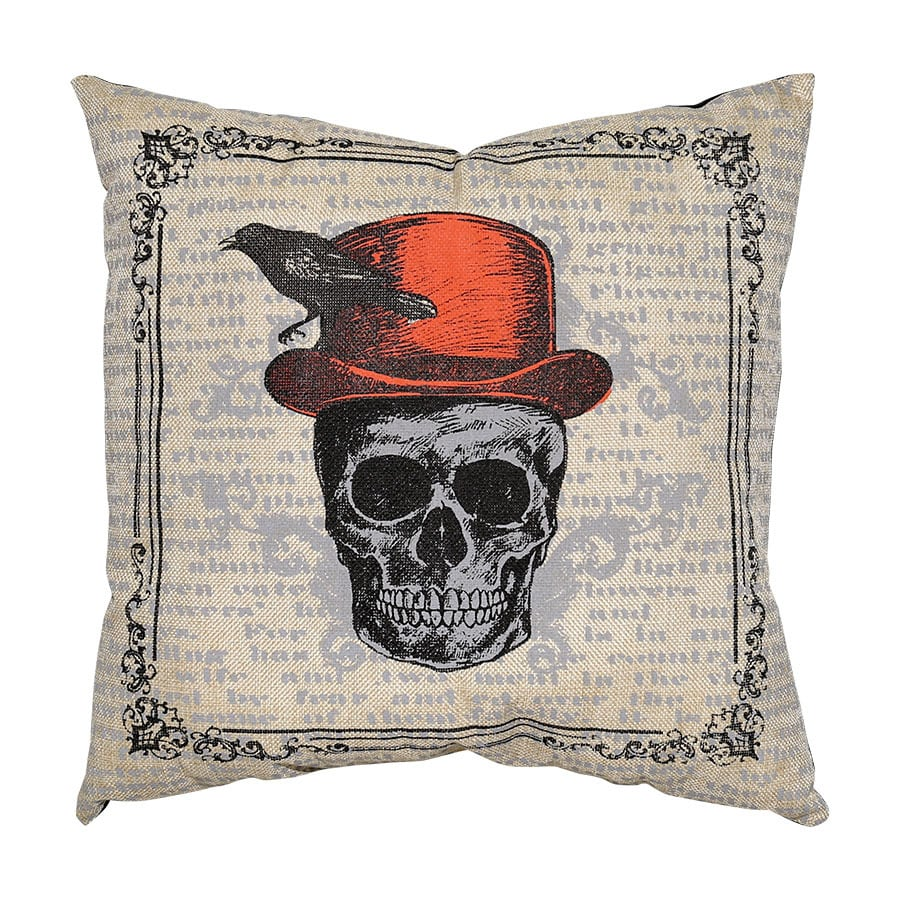 New Traditions Skull And Crow Throw Pillow