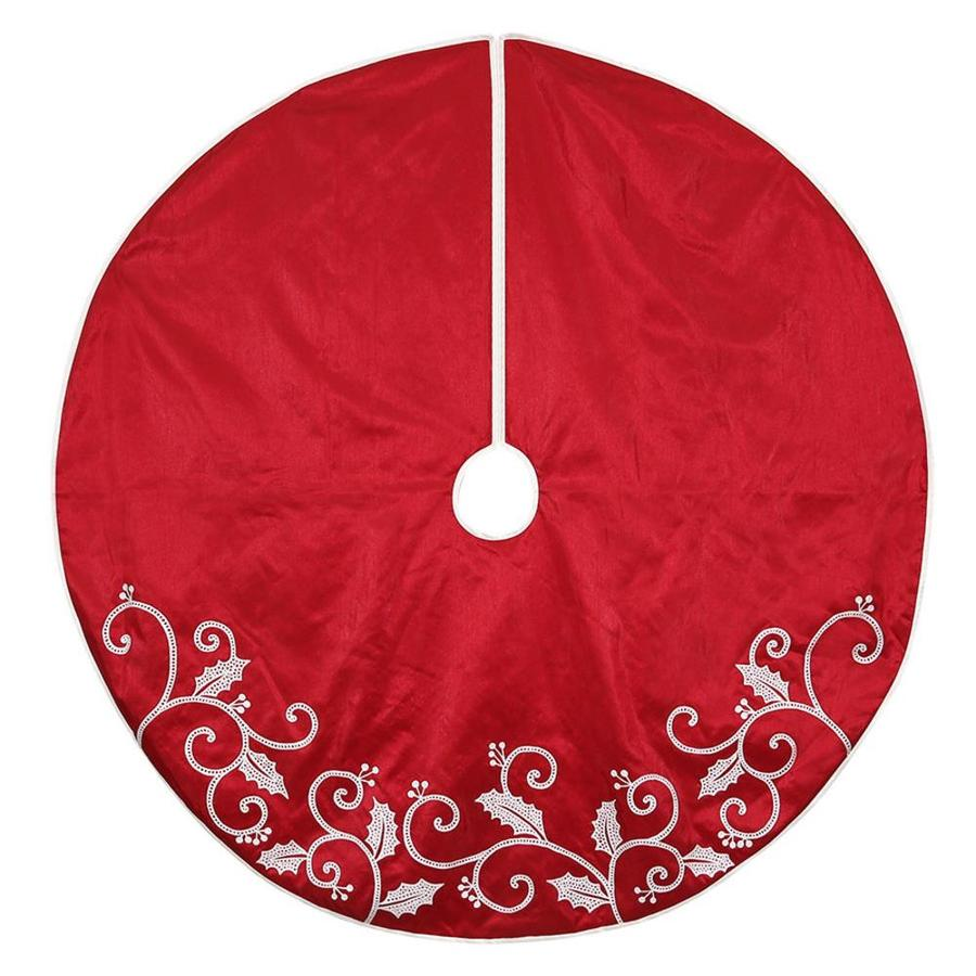 Holiday Living 56-in Red Polyester Holly Christmas Tree Skirt
