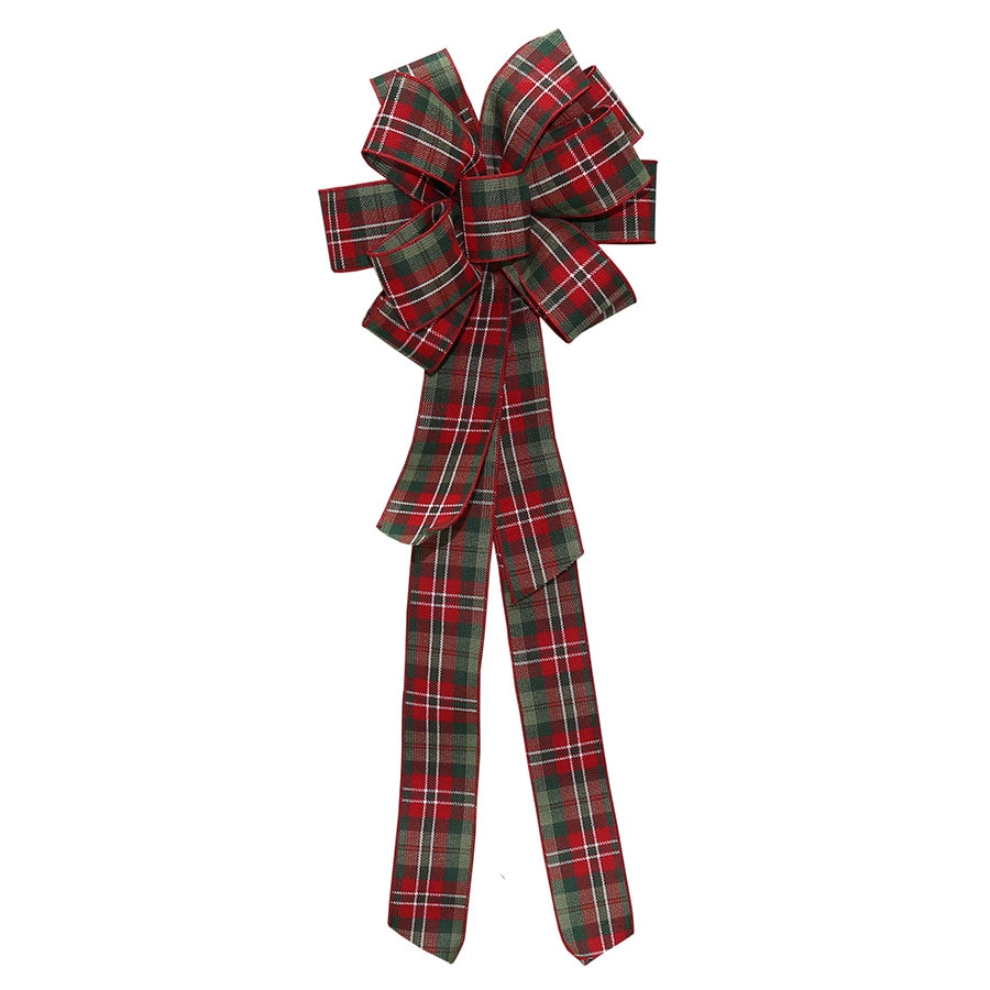 Holiday Living 8-in W x 17-ft L Red, green and white burlap Plaid Bow