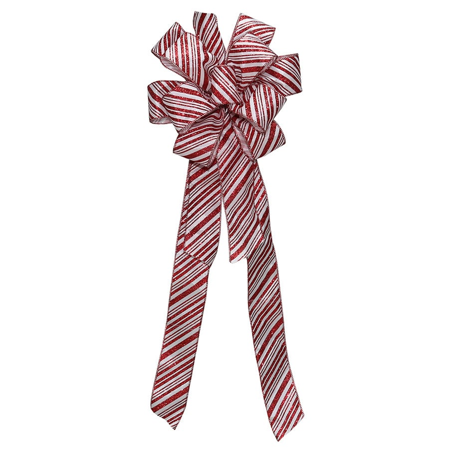 Holiday Living 8-in W x 17-ft L Red and white satin Striped Bow