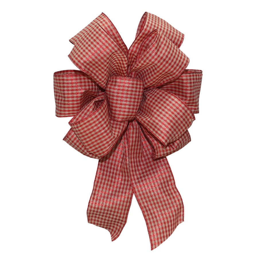 Holiday Living 19-in Polyester Stripe Tan Linen with Red checks Christmas Tree Topper