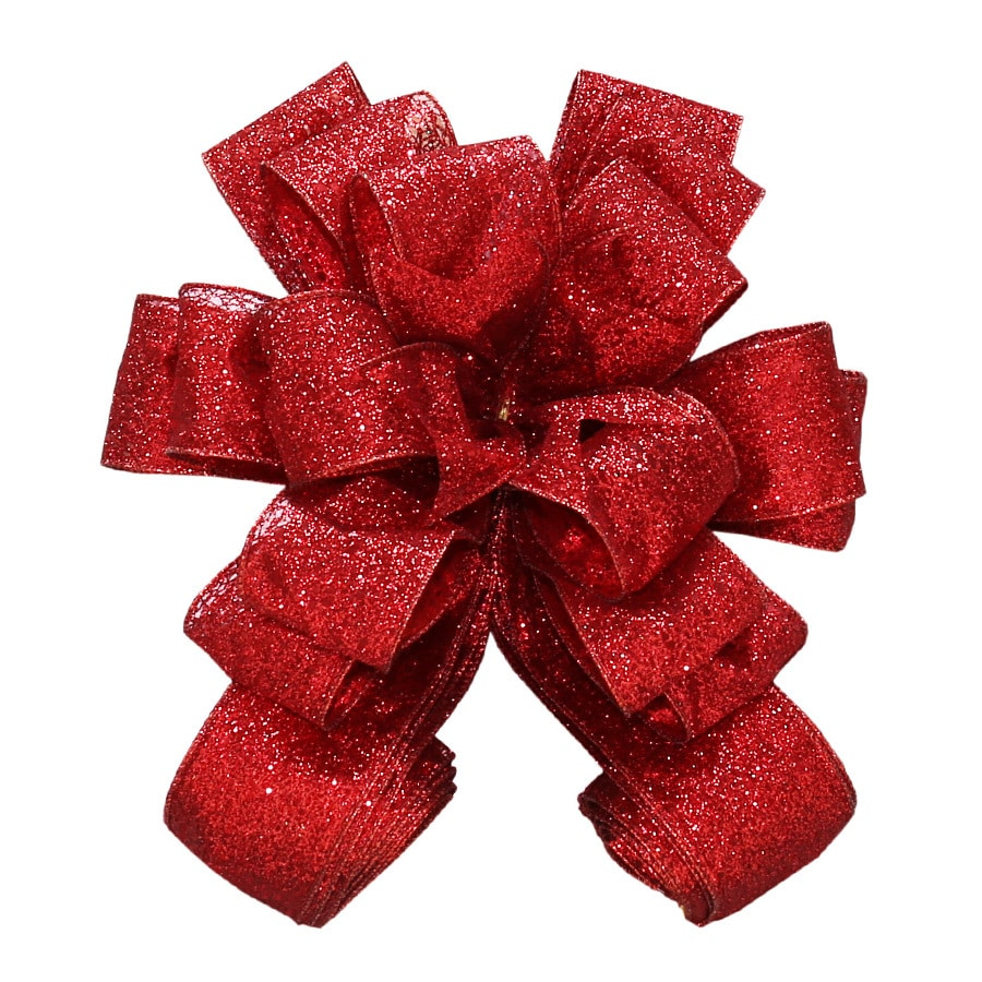 Holiday Living 53-in Polyester Solid Red Glittered Sheer Christmas Tree Topper