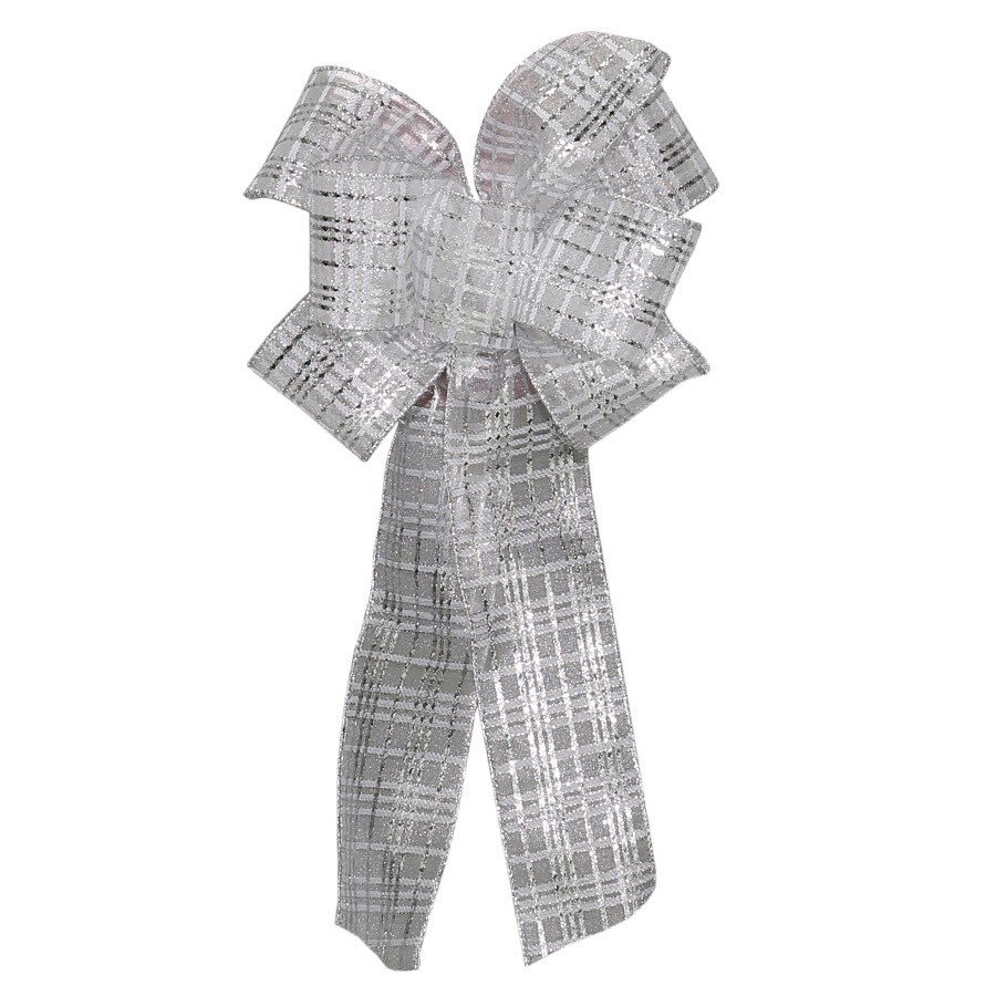 Holiday Living 8-in W x L Silver Glittered Sheer Bow