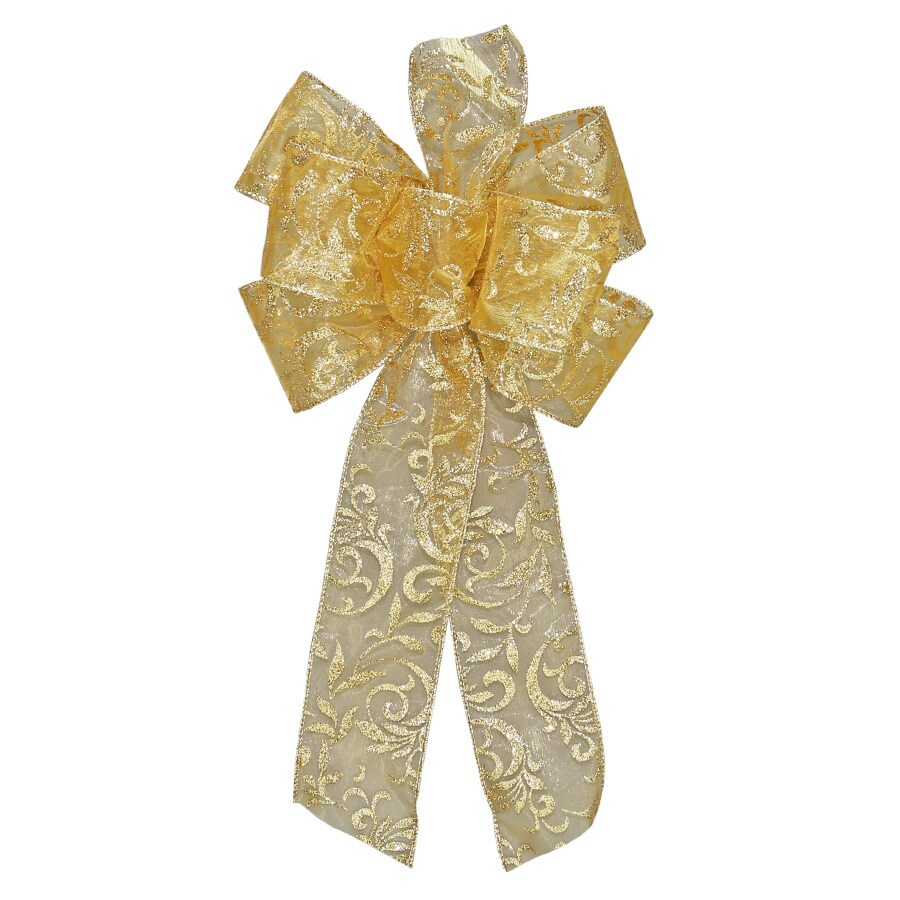 Holiday Living 17-in H x 8-in W Gold glitter Floral Bow