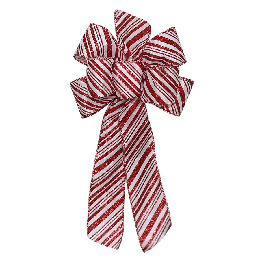 Holiday Living 17-in H x 8-in W Red and white satin Striped Bow
