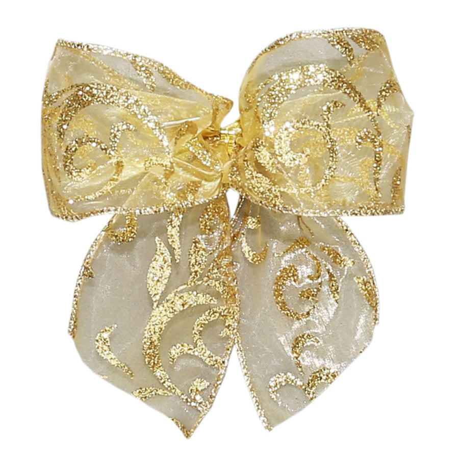 Holiday Living 6-Pack 5-in W x 5-ft L Gold glitter Floral Bow