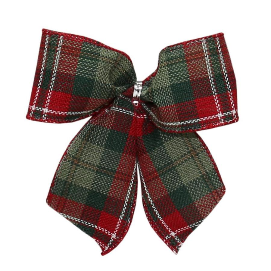 Holiday Living 6-Pack 4.5-in H x 4.5-in W Red, green and white burlap Plaid Bow