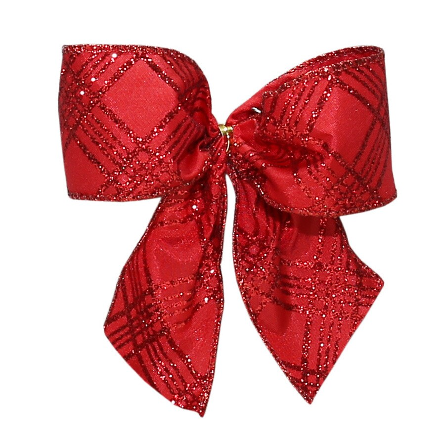 Holiday Living 6-Pack 4.5-in H x 4.5-in W Red glitter satin Striped Bow