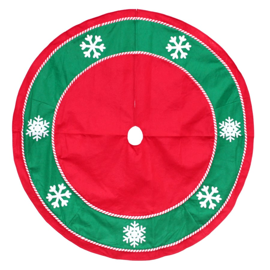 Lowes Christmas Tree Skirts: Holiday Living 48-in Red Felt Traditional Christmas Tree