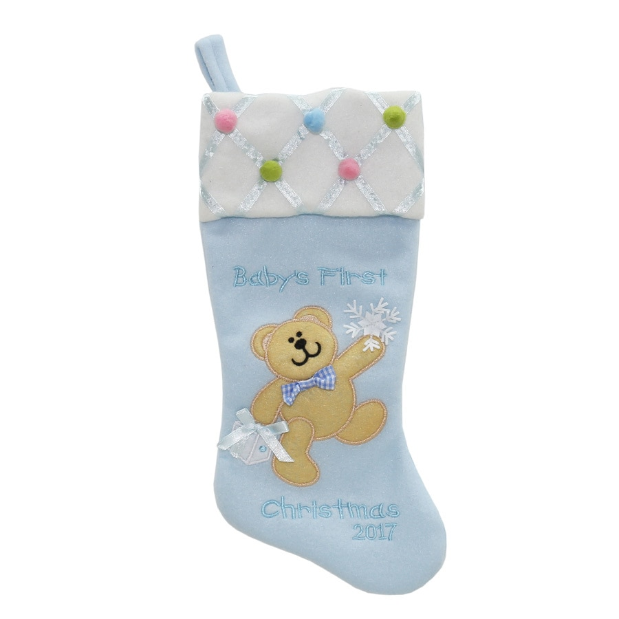 Holiday Living 16-in Blue Baby's First Christmas Stocking